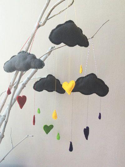 Grey Rain Cloud Mini Baby Nursery Mobiles by TheMilkCollective