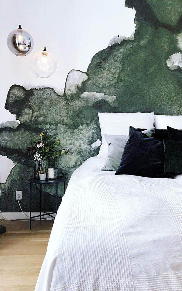 Green Abstract Watercolour Wall Mural Watercolor Wallpaper Wall