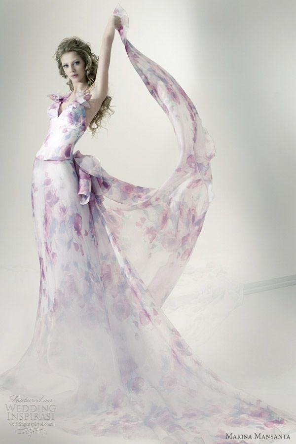 marina mansanta ninfe printed wedding dress