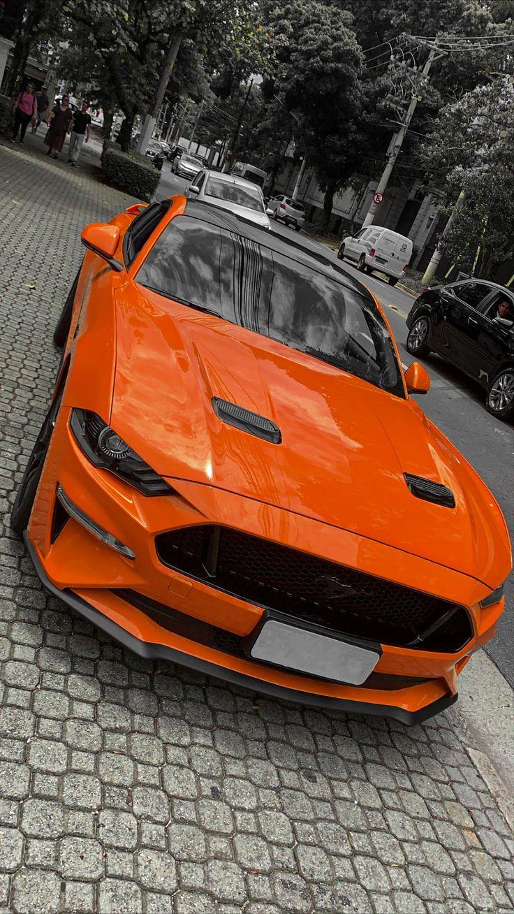 Mustang gt 2018, mustang laranja aesthetic. mustang