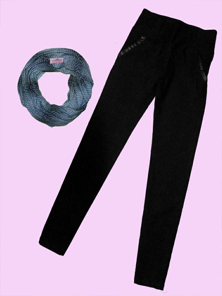 Pantalon bolsillos detalle en cuero disponible en cafe y negro!