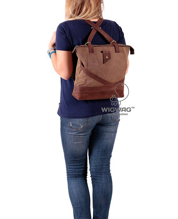 Canvas leather bag women's bag women's backpack