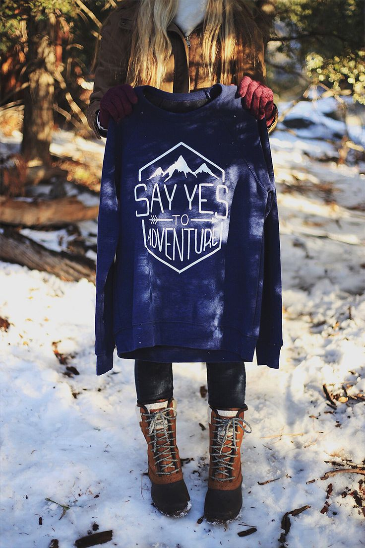 Say Yes to Adventure Sweater. Love that these products give back to victims from sex trafficking!