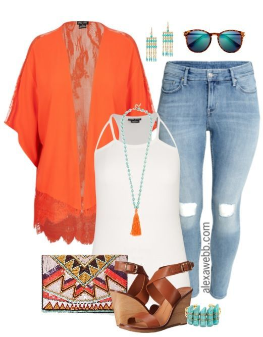 This beautiful plus size orange kimono is on sale (also available in white), so I thought I'd come up with a way to wear it. The beaded clutch and tassel necklace complete this boho chic look. Add some distressed jeans for easy style. All these elements blend together for a boho, glam, and edgy look. Love it! Shop the… Read More