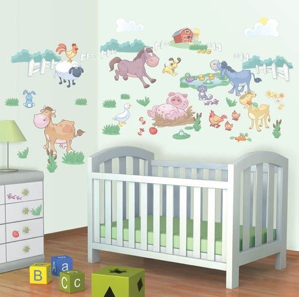Baby Fun on the Farm kids wall stickers for a babies nursery http://www.wallmurals.ie/shop/wall-stickers-for-a-box-room-or-smaller-area/fun-on-the-farm-wall-stickers/