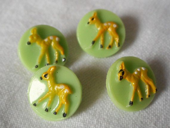 Set of 4 VINTAGE Yellow Painted Bambi Fawn Deer on Green by abandc
