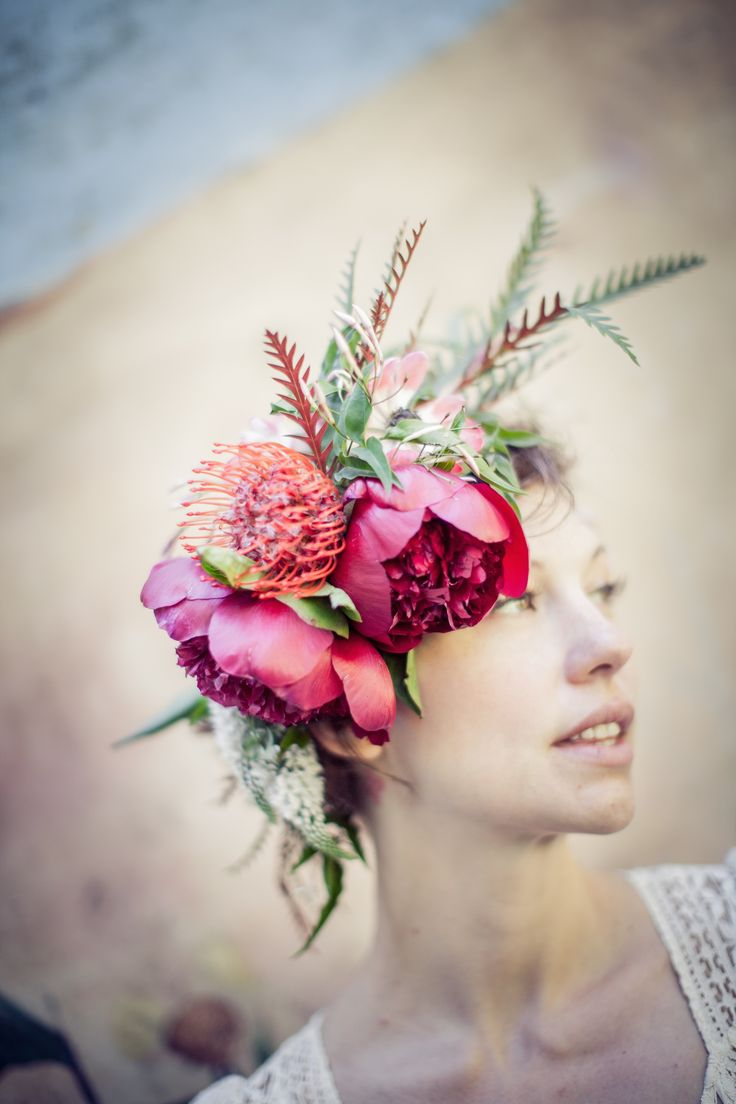 Fresh flower crown with peonies. Katie Burley Millinery and Dark + Diamond Floral Design. Beacon, NY. Photo by www.matchinghats.com