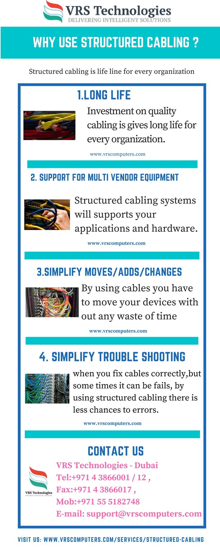 VRS Technologies offers structured cabling services in Dubai,we give quality cabling services in Dubai.Call us at 00971-55-5182748