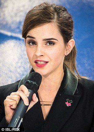 Emma Watson and UN Women launch #HeForShe IMPACT 10X10X10( engaging government, organisations and universities for change) in Davos Switzerland on January 23,2015.