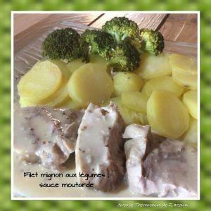Filet mignon aux légumes et sa sauce moutarde gorgonzola
