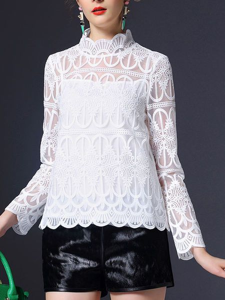 See-through Look Lace Long Sleeved Top