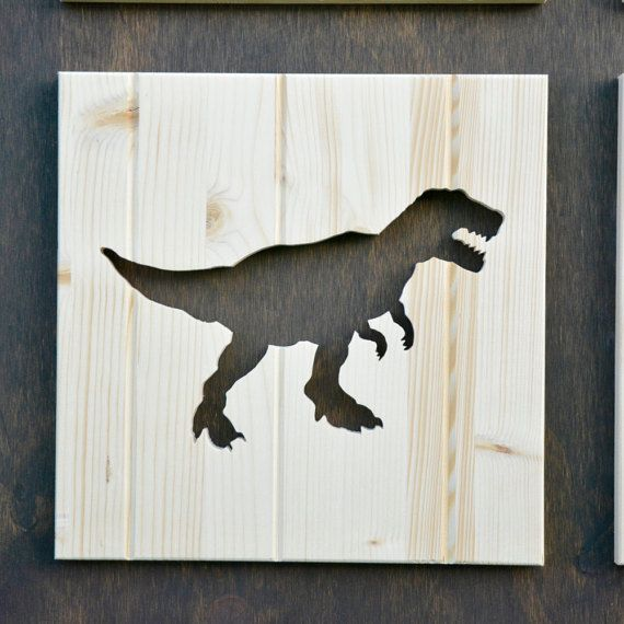 Tyrannosaurus Rex Wood Silhouette Dinosaur by SkipToothCreations