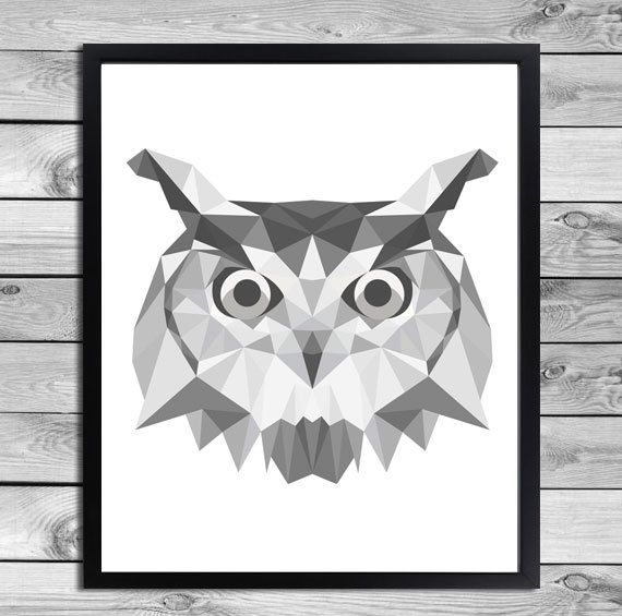 Geometrical Animal Print in black and white - Owl