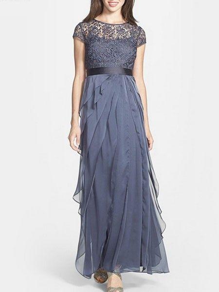 Slash Neck Bowknot Patchwork Party-dress   fashionmia.com