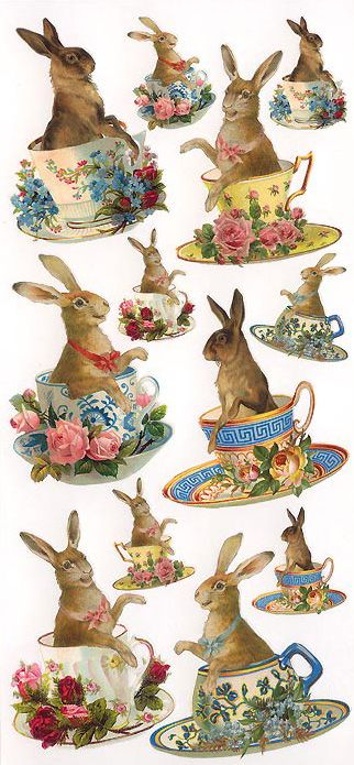 Easter bunnies in teacups crafting stickers  Auf vintage-ornaments.com