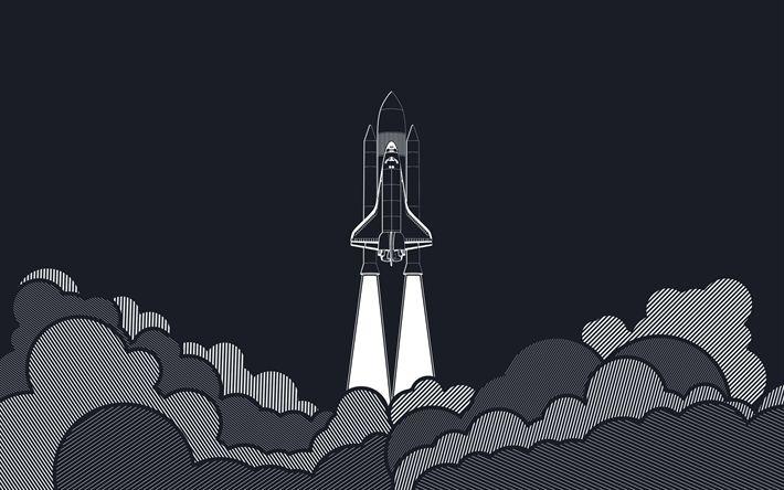 Lataa kuva avaruussukkula, raketti, käynnistyksen käsitteitä, minimalismi käynnistyksen, savu, pilvet