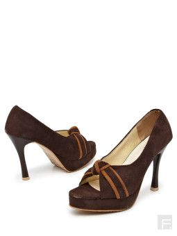 Classy Touch Me Knot Peep – Toe Platforms in Brown Color