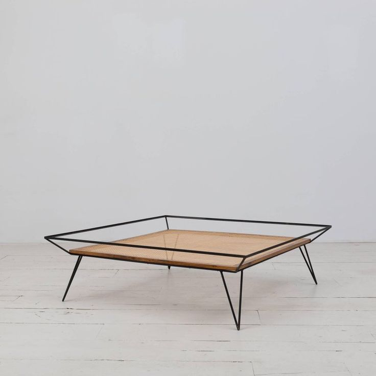 Vintage 1950s Cane And Metal Coffee Table By Martin Eisler Carlo Hauner