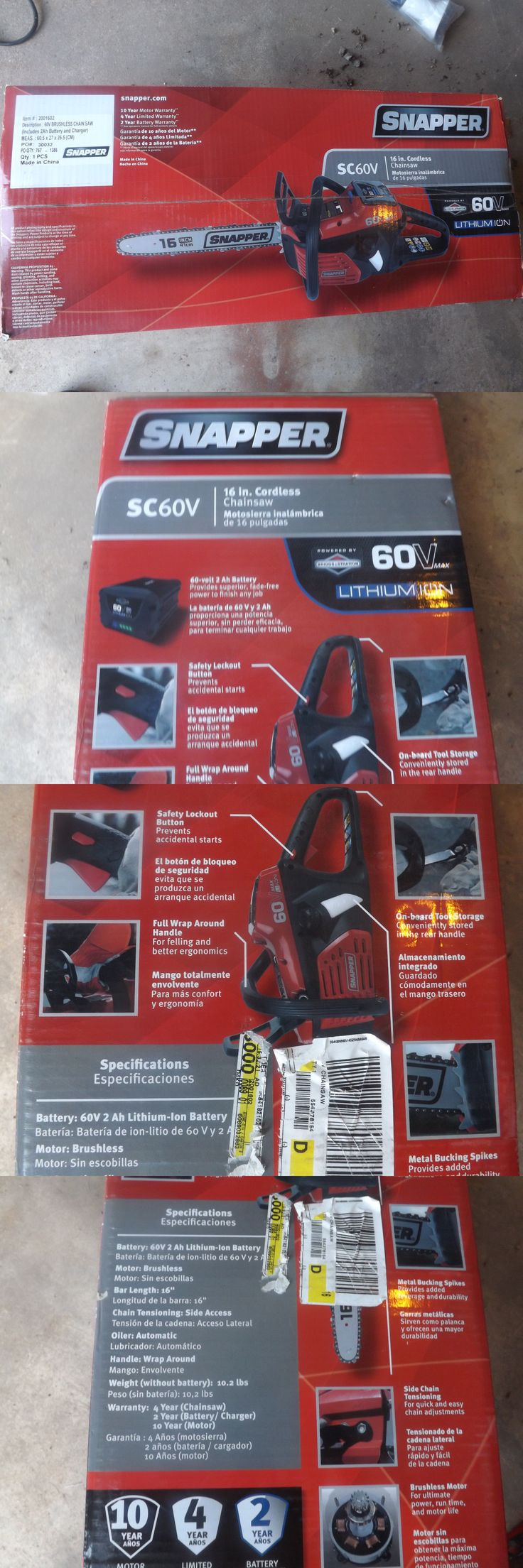 Hedge Trimmers 71268: Snapper Sc60v 60V Chainsaw Includes 2Ah Battery And Charger Brand New -> BUY IT NOW ONLY: $159.95 on eBay!