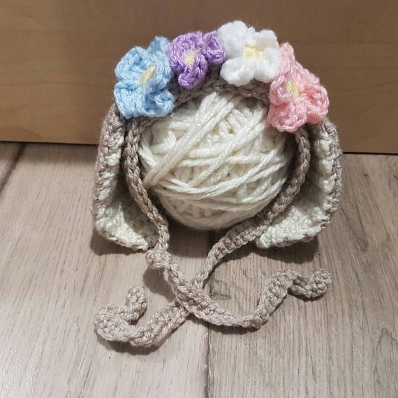 Newborn Bonnet Newborn Floral Bunny Hat Flower Crown Ready