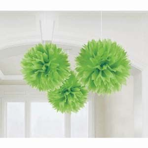 A18055/53 - Hanging Decoration Green Fluffy Hanging Decoration Green (40cm) Pom Pom - Pack of 3. Please note: approx. 14 day delivery.
