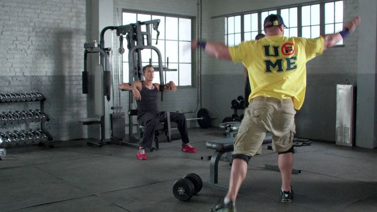 John Cena's Roarin'-Butt-Face-Jam.  I have a feeling they didn't need to set up a special time to film for this; I think this is just what John does after a work out; I mean, he's wearing his merch, so that's a dead give away.