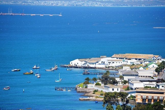 Saldanha - small boat harbour and part of the Langebaan lagoon - as viewed from the top of the hill behind the town.