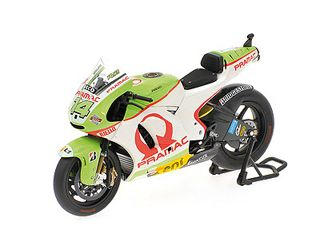 Minichamps 1:12 Ducati Desmosedici Diecast Model Motorcycle 123110014 This Ducati Desmosedici (Randy de Puniet - Qatar MotoGP 2011) Diecast Model Motorcycle is Green and features working paddock stand, steering, wheels. It is made by Minichamps and is 1:12 scale (approx. 17cm / 6.7in long).    #Minichamps #ModelMotorbike #Ducati