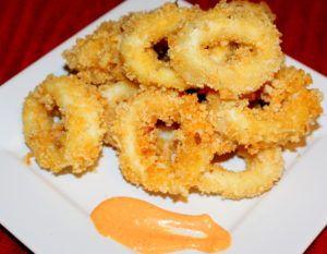 Pork Dust Calamari with Sriracha Mayo and Serrano Honey Salad (Paleo, Low Carb) - Functional Foodie Nutrition