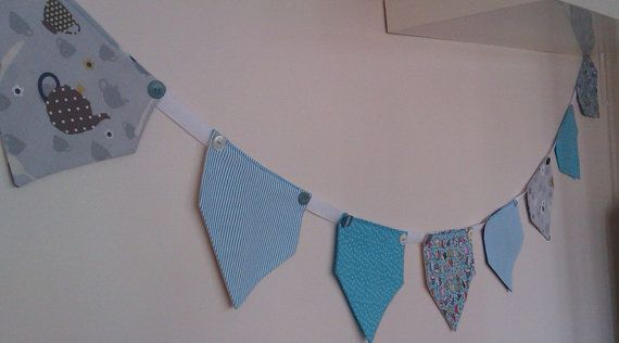 Blue Bunting by Birdyheartsbuttons on Etsy, £16.00
