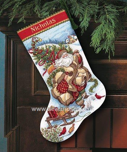 Buy Santa's Journey Stocking Cross Stitch Kit Online at www.sewandso.co.uk