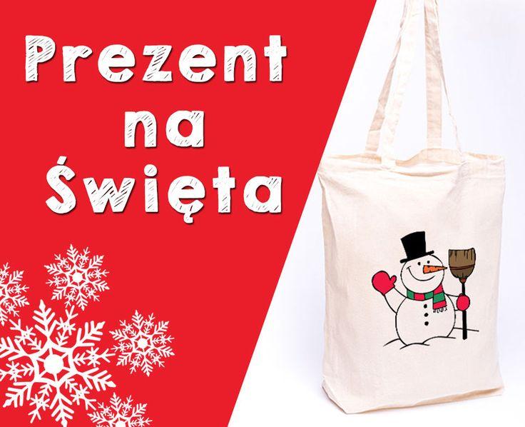 Prezent na święta torba bawełniana torebka z nadrukiem ŚWIĄTECZNE WZORY