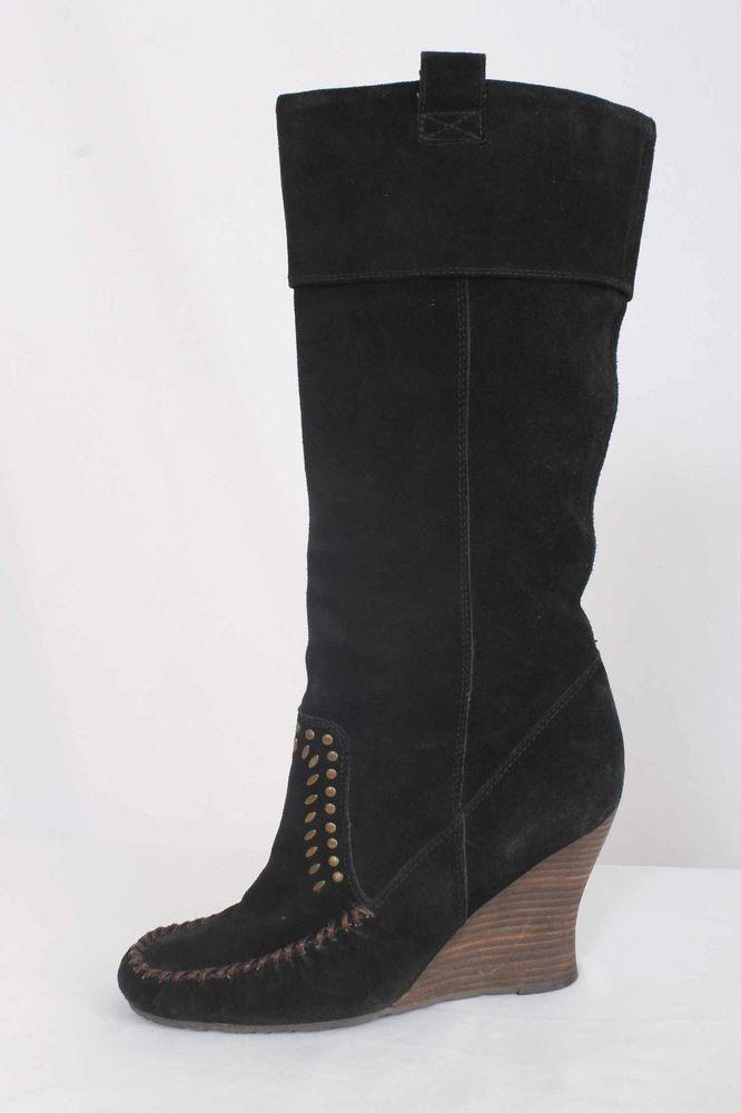 Sam Edelman Size 8M Black Suede Wedge Heel Studded Knee High Boots 708 B916  | eBay
