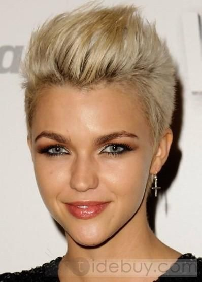 Popular Ruby Rose Short Hairstyle Straight Light Blonde Full Lace Cap 100% Human Remy Hair