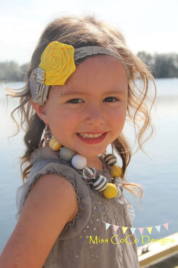 Love this yellow and Grey necklace for my girls!!! @Krystal Hansen I want to make one liek this