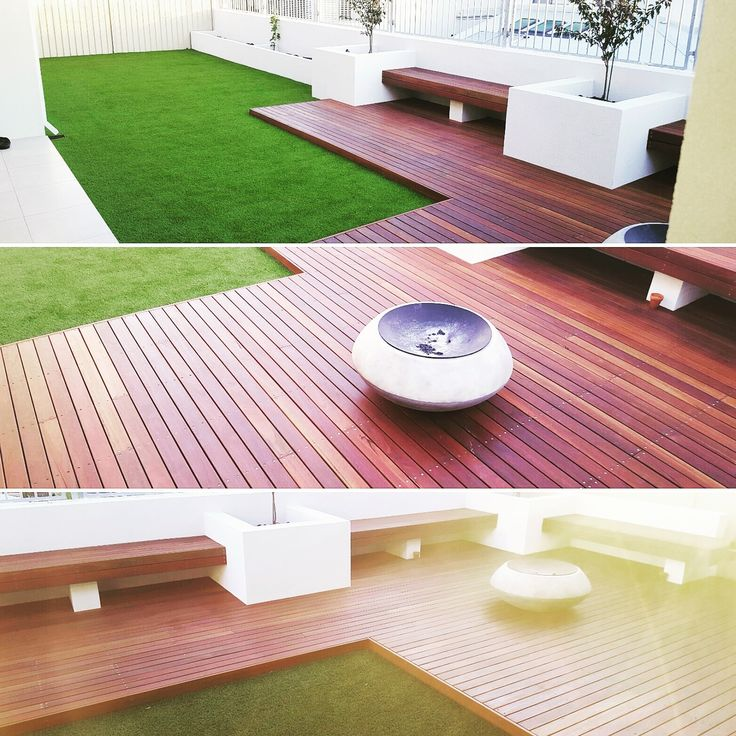 Spotted Gum timber decking, timber bench seats and artificial lawn,  Perth