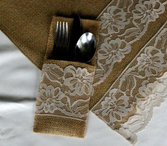 Burlap silverware holders, 6/21 Burlap wedding decorations, country rustic, Garden, woodland cottage,French country weddings. $21.00, via Etsy.