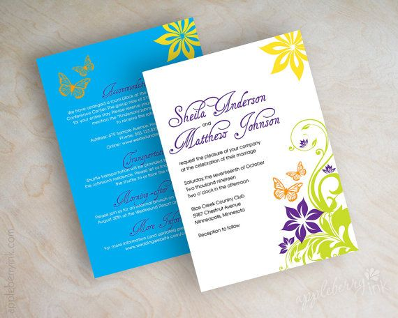 Wedding invitations, butterflies, butterfly design in lime green, purple, yellow, orange and cyan blue by appleberryink
