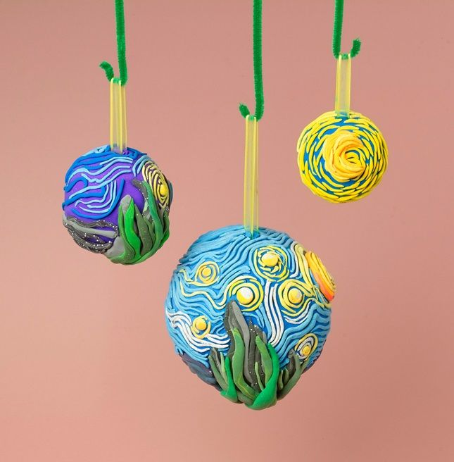 Get inspired by the impasto technique used by Vincent van Gogh to make this sculptural keepsake! Students roll Model Magic® coils to cover a foam ball in the style of a great masterpiece.