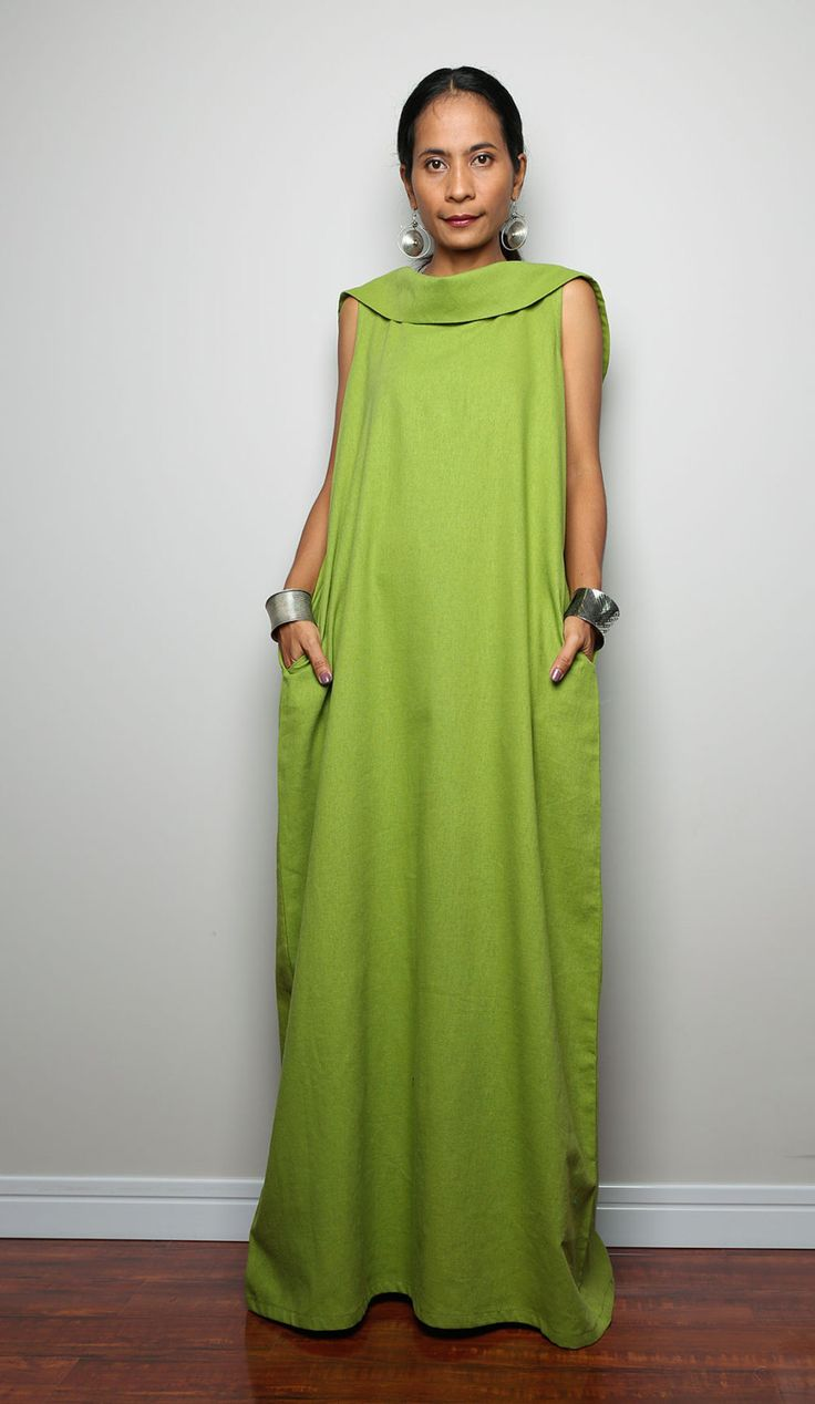 Linen Maxi Dress / Sleeveless Dress with hood : The от Nuichan