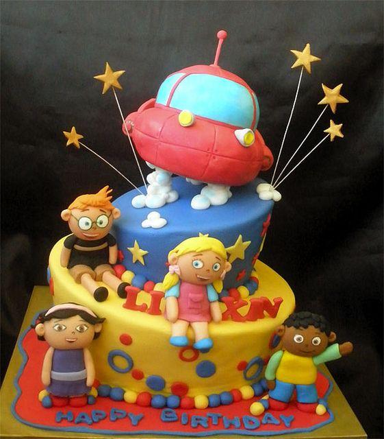 Little Einstein topsy turvy cake