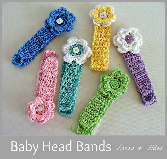 Crochet baby headbands from Lanas and Hilos