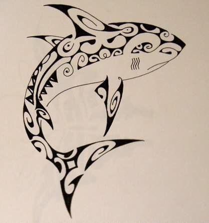 Tribal Shark Tattoo Sketch