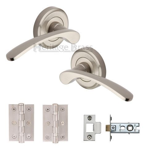 Heritage Brass Lever Latch Round Rose Sophia Satin Nickel – Next Day Delivery Heritage Brass Lever Latch Round Rose Sophia Satin Nickel