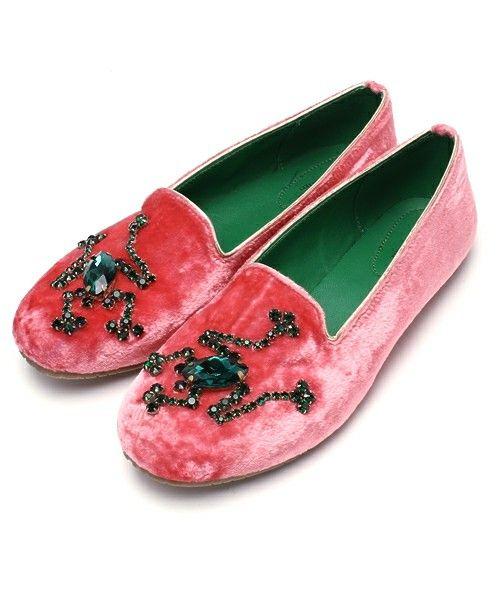 あちゃちゅむ(アチャチュム(オトナ))のバレエシューズ(バレエシューズ)|ピンク Swoski frog velvet shoes