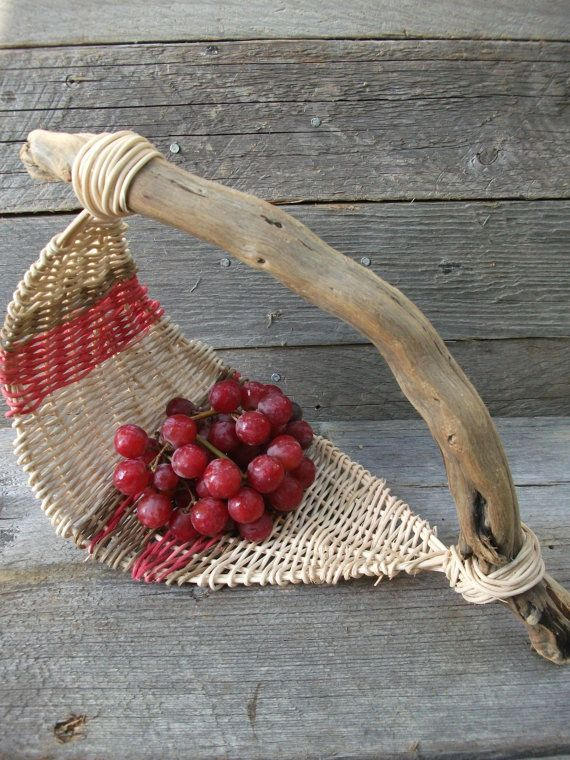 Curve wicker basket with driftwood handle by StormWeave on Etsy, $58.00