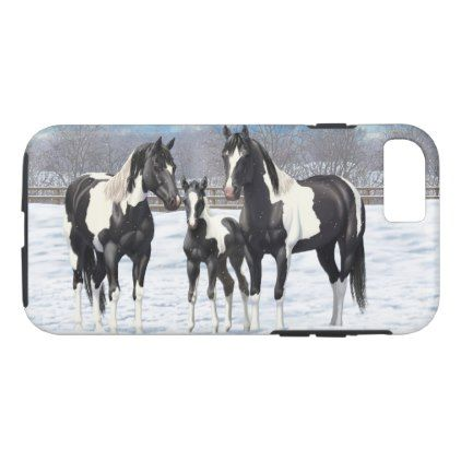 Black Appaloosa Horses In Snow iPhone 8/7 Case - family gifts love personalize gift ideas diy