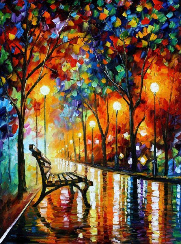 Loneliss of Autumn pintada à mão por Leonid Afremov pronta entrega na Minocom 100x75cm