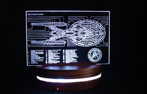 Star Trek Enterprise Acrylic Light Display, Colour Changing LED Desk Lamp, Faux Holographic Plate Detailed Starfleet Starship Diagram