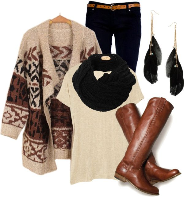 Great fall outfit. Black skinny jeans. Cream, brown and black knit oversized sweater. Comfy tee and scarf. Brown leather riding boots.